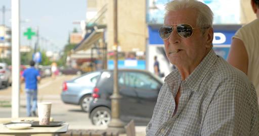 Close-up of senior man smoking cigarette Footage