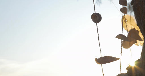 Wind Chime in High Wind Footage