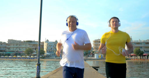 Man Checking Smart Watch during Morning Jogging Footage