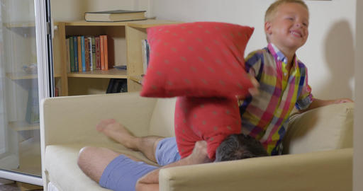 Pillow Fight between Son and Dad Footage