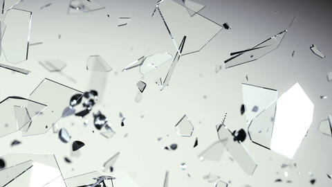 Glass shattered and broken in slow motion. Alpha matte Animation
