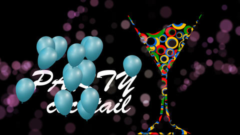 Cocktail icon color animation loop.Cocktail party balloons.Alcohol background Animation