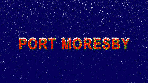 New Year text capital name PORT MORESBY. Snow falls. Christmas mood, looped Animation