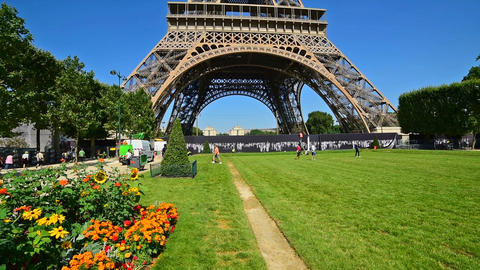 World famous Eiffel tower on a clear day Footage