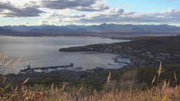Autumn view of Seaport of Petropavlovsk-Kamchatsky City Footage