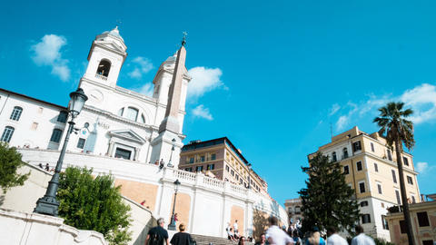 time lapse Spanish Steps staircase with blue sky Live Action
