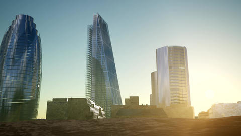 city skyscrapes in desert at sunset Footage