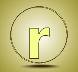 Letter R lowercase, round golden icon on light golden gradient background Vector