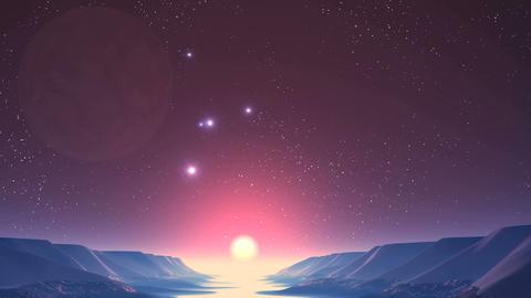 UFO, Sunrise on Alien Planet Animation