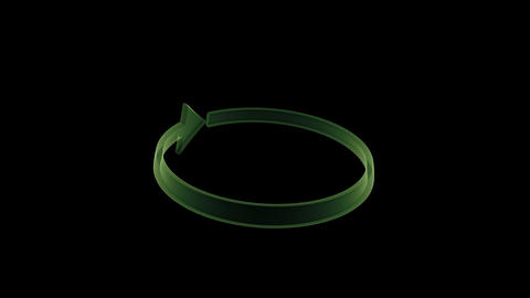 Rotating green transparent arrow. (loop ready) Animación