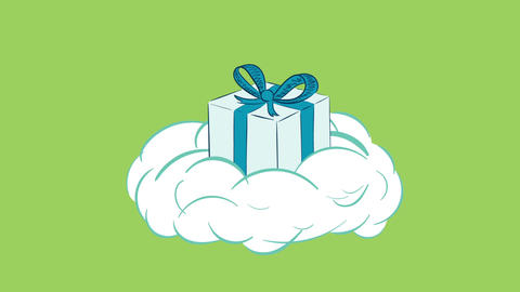 Gift box on cloud green back Animation