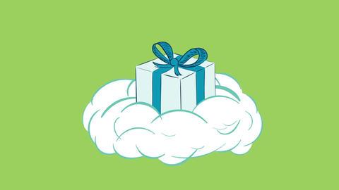 Gift box on cloud green back CG動画素材