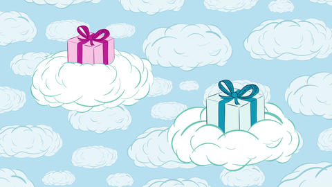Gifts in clouds and sky Animation