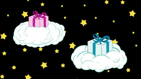 Gifts in clouds and stars Animation