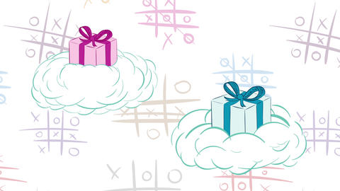 Gifts in clouds and tic-tac-toe Animation