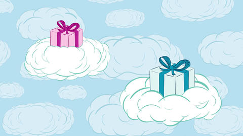 Gifts in clouds up Animation