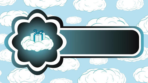 Icon gift on cloud and sky Animation