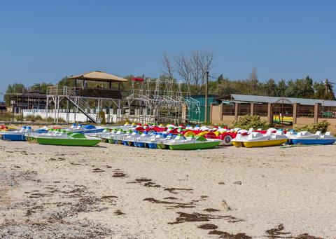 water catamaran parking on the sea フォト