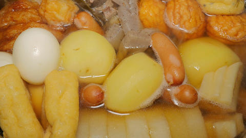 Japanese fish cake stew - Oden Stock Video Footage