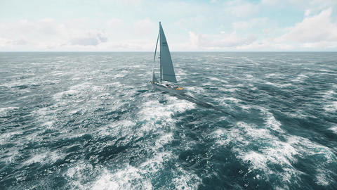 Yacht sailing on opened sea. Yachting Sailing video. Yacht from above Animation