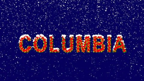 New Year text State Name COLUMBIA. Snow falls. Christmas mood, looped video. Animation