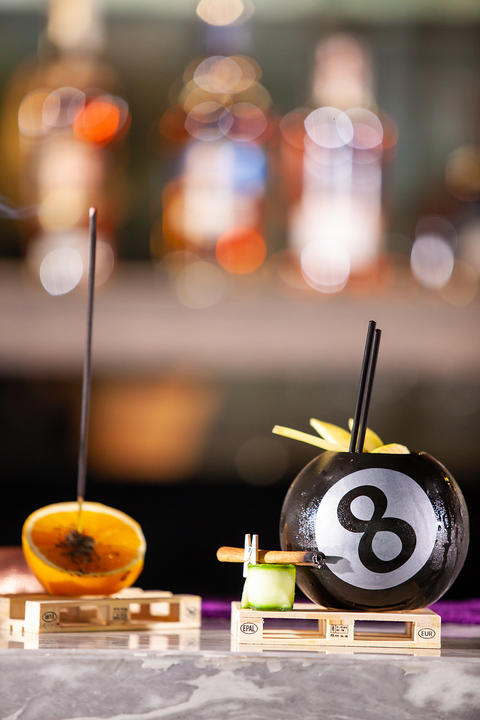 Cocktail in a pool bal on a bar counter Photo