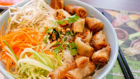 Vietnamese Rice Noodle with Spring Rolls Photo