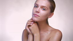 Portrait of naked caucasian woman who is looking fresh... Stock Video Footage