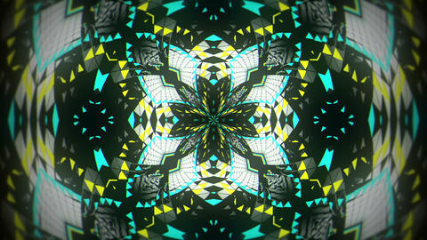 Mosaic Kaleidoscopic Colorful Particles Motion Black Background VJ Loop Live Action
