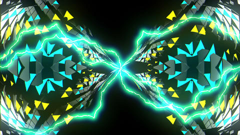 Symmetrical Electric Mosaic Kaleidoscopic Motion Black Background VJ Loop Footage