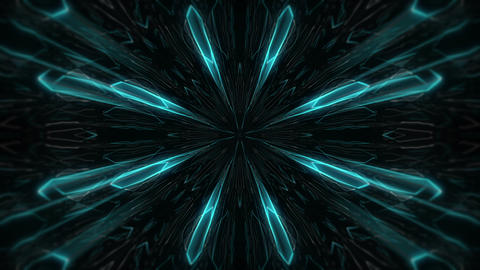 Blue and Silver Neon Shining Light Neon Sparkling Rays Motion Tunnel VJ Loop Footage