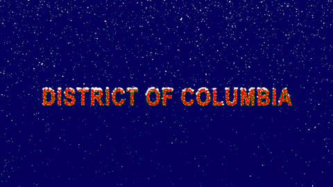 New Year text State Name DISTRICT OF COLUMBIA. Snow falls. Christmas mood, Animation