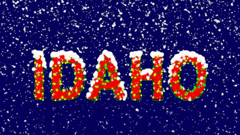 New Year text State Name IDAHO. Snow falls. Christmas mood, looped video. Alpha Animation