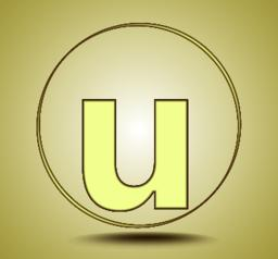 Letter U lowercase, round golden icon on light golden gradient background Vector