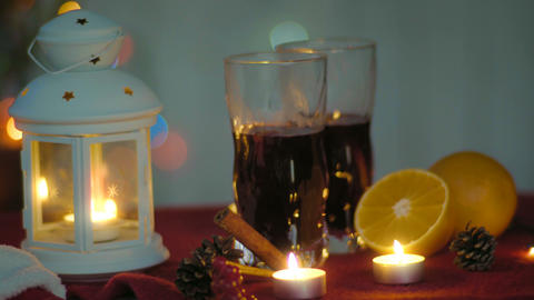 Hot mulled wine and lantern. Christmas eve 영상물