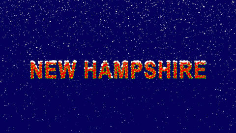 New Year text State Name NEW HAMPSHIRE. Snow falls. Christmas mood, looped Animation