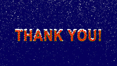 New Year text common expression THANK YOU!. Snow falls. Christmas mood, looped Animation