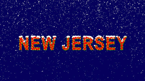 New Year text State Name NEW JERSEY. Snow falls. Christmas mood, looped video. Animation