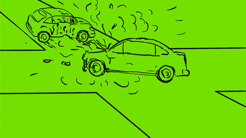 Car Crash at Intersection Drawing 2D Animation Animation