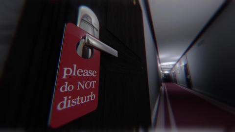 Do Not Disturb Hotel Door Sign Cinematic Motion Extreme Wide Angle Scary 3D Anim Animation