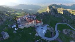Aerial: camera slowly moving away from Treskavec monastery, Macedonia Footage