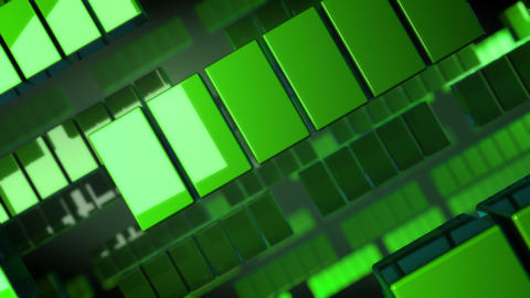 Green geometric squares of various sizes move across the screen Animation