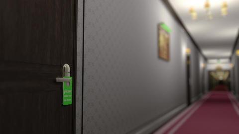 Make Up Room Hotel Door Sign Cinematic Motion 3D Animation DOF Animation