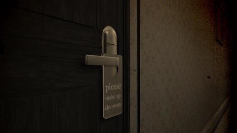 Make Up Room Hotel Door Sign Cinematic Motion Vintage Vertigo Effect 3D Animatio Animation