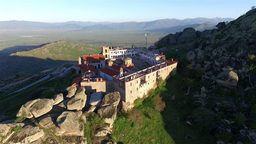 Smooth flight over Treskavec monastery in Macedonia Footage