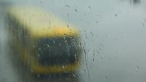 Rain drops on the glass at the airport Footage