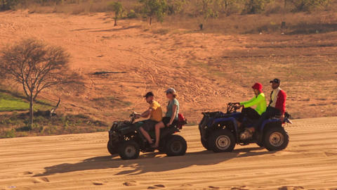 Quads Do Sand Drag Racing in White Sand Dunes Footage
