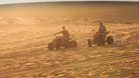 Quads Run Sand Drag Racing in White Sand Dunes Footage