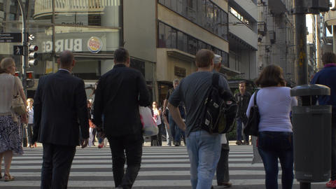 People crossing the street in downtown Buenos Aires series 2 Footage