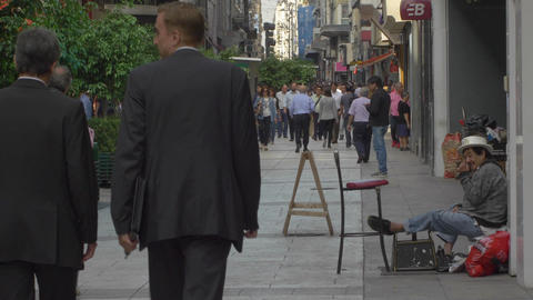 People Walking Trough Florida Street Downtown Buenos Aires stock footage
